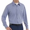 SP74WB Long Sleeve White/Blue  Mini-Plaid Work Shirt