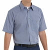 SP84WB Short Sleeve White/Blue  Mini-Plaid Work Shirt