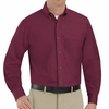 SP90BY Men's Burgundy Long Sleeve Button Down Poplin Shirts