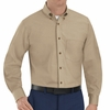 SP90KH Men's Khaki Long Sleeve Button Down Poplin Shirts