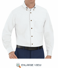SP90WH Men's White Long Sleeve Button Down Poplin Shirts