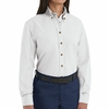 SP91WH Women's White Long Sleeve Button Down Poplin Shirts