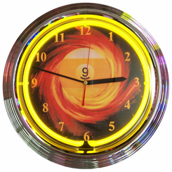9 Ball Fire Neon Clock