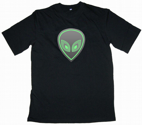 Alien Head Light Up LED Shirt - Click to enlarge