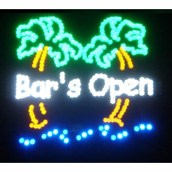 Bar is Open LED Motion Sign with Palm Trees