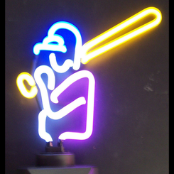 Baseball Player Neon Sculpture Light