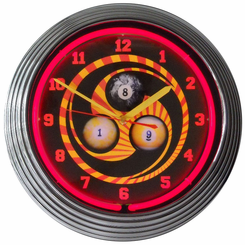 Billiards 1 8 9 Neon Clock