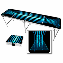 Black & Blue Lines Abstract Beer Pong Table