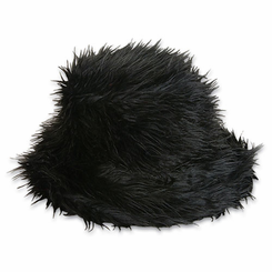 Black Furry Bucket Hat