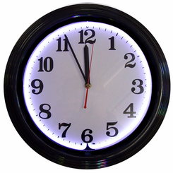 Black Rim White Standard Neon Clock