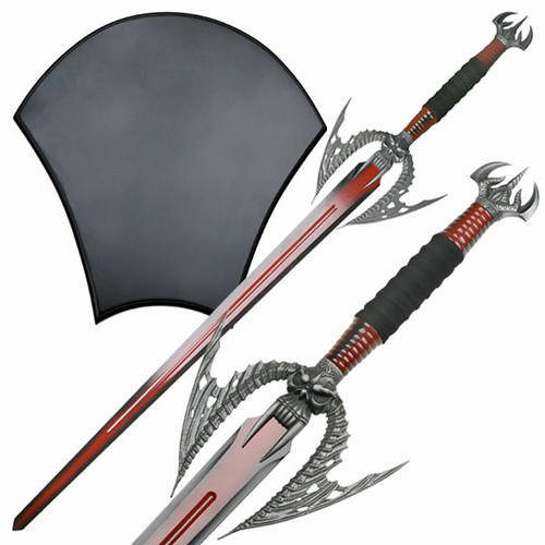 Blood Red Vampire Blade with Wall Plaque - Click to enlarge