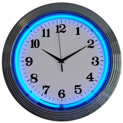 Chrome Blue Standard Neon Clock
