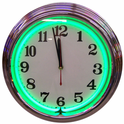 Chrome Green Standard Neon Clock