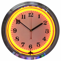 Chrome Orange Standard Neon Clock
