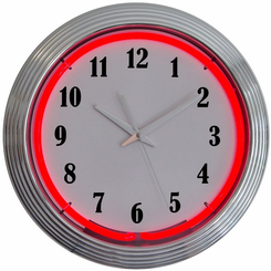Chrome Red Standard Neon Clock