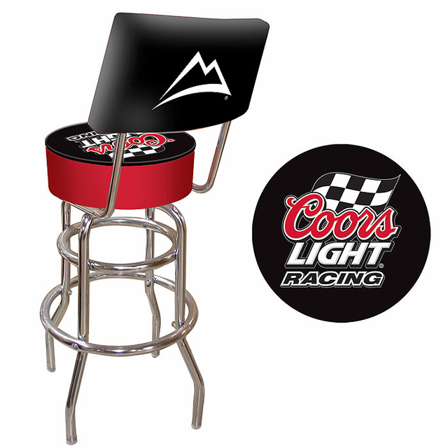 Coors Light Racing Padded Bar Stool With Back