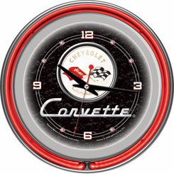 Corvette C1 Neon Clock Black