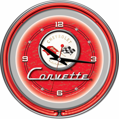 Corvette C1 Neon Clock Red