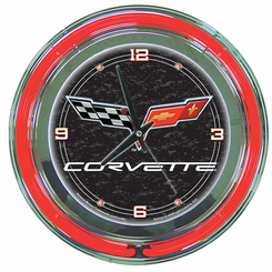 Corvette C6 Neon Clock Black