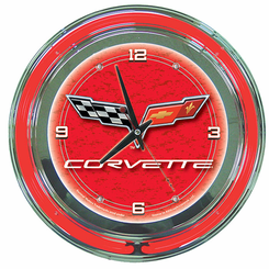 Corvette C6 Neon Clock Red