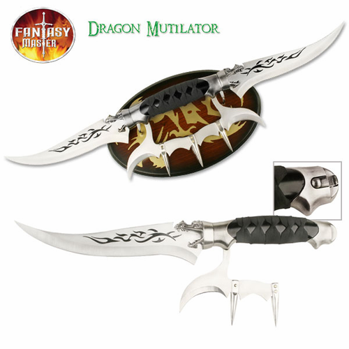 Dragon Mutilator Double Dagger with Plaque - Click to enlarge