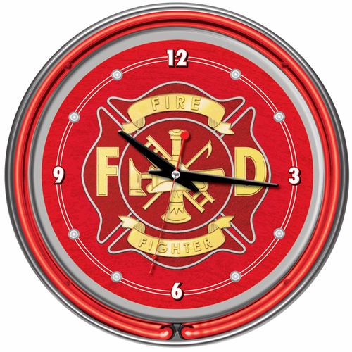Fire Fighter Fireman14 Inch Neon Wall Clock - Click to enlarge