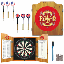 Fire Fighter FiremanDart Cabinet Includes Darts and Board