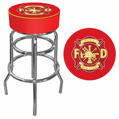 Fire Fighter FiremanLogo Padded Bar Stool