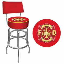 Fire Fighter FiremanPadded Bar Stool with Back