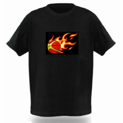 Flaming Basketball Light Up LED Shirt