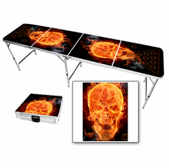 Flaming Skull Beer Pong Table