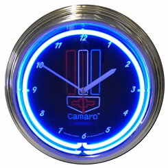 Gm Camaro Red White And Blue Neon Clock