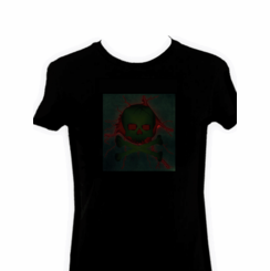 Green Crossbones Light Up LED Shirt