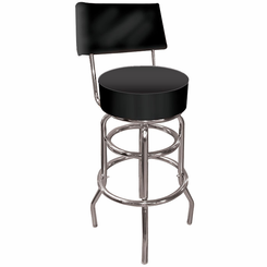 High Grade Black Padded Bar Stool with Back