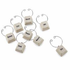 Keyboard Wine Charm Set