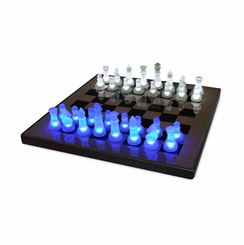 LED Glow Chess Set Blue and White SUP-LEDCHES-BW