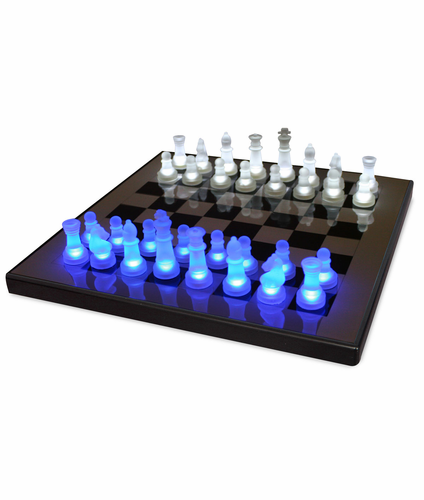 LED Glow Chess Set Blue and White SUP-LEDCHES-BW - Click to enlarge
