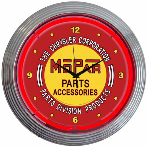 Mopar Red Vintage Neon Clock - Click to enlarge