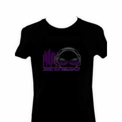 Music Headphones Light Up LED Shirt