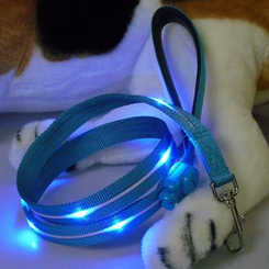 NightSafe Flashing Dog Leash - Blue