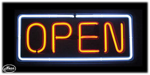 Open Red Blue Neon Sign - Click to enlarge