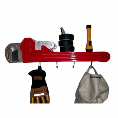 Pipe Wrench Coat Rack and Shelf