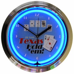 Poker Texas Hold Em Neon Clock