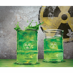 polluted toxic waste barrel shot glasses