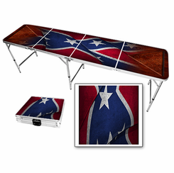 Rebel Flag Wood Look Beer Pong Table