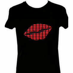 Red Lips Light Up LED Shirt