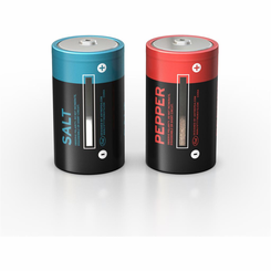 salt and power D cell battery shakers set