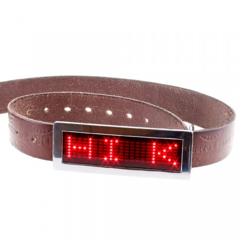 Scrolling LED Belt Buckle Red - Click to enlarge