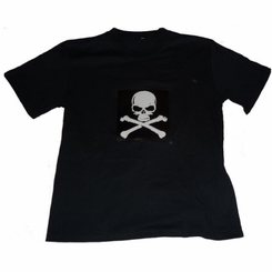 Skull and Crossbones Sound-Activated Light Up Shirt