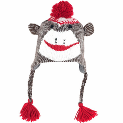 Sock Monkey Knit Hat with PolyFleece Lining